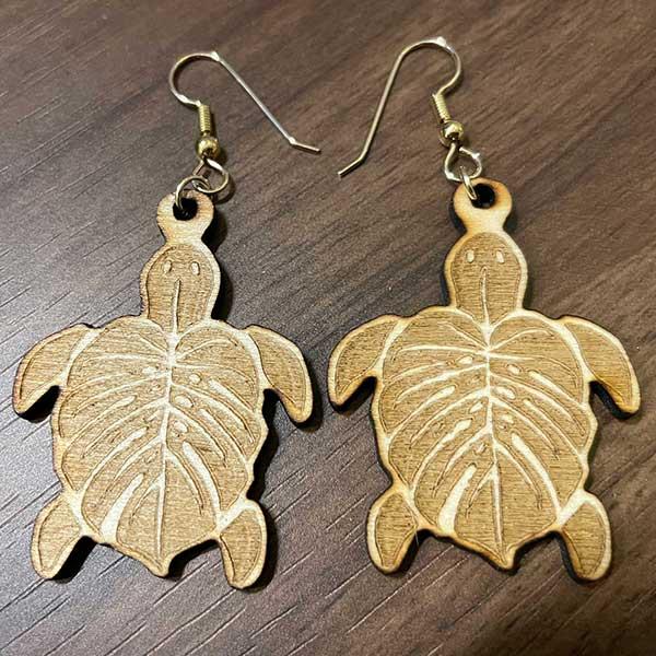 Sea Turtle Monstera Leaf Earrings